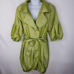 D&Y Women XL Green Pleated Windbreaker Trenchcoat